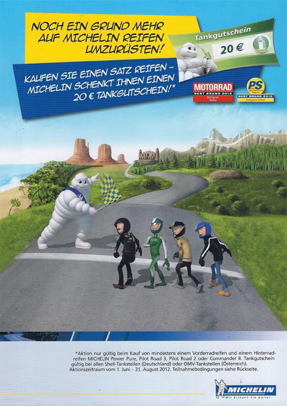 Kaufen Sie einen Satz Michelin-Reifen - Michelin schenkt Ihnen einen 20 Euro Tankgutschein! Gültig vom 01 Juni - 31. August 2012.